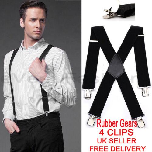 Unisex Mens Men Braces Plain Black Wide/&Heavy Duty Suspenders Adjustable