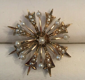 Antique Art Nouveau 14k Snowflake Star Seed Pearl Pin And Pendant Ebay