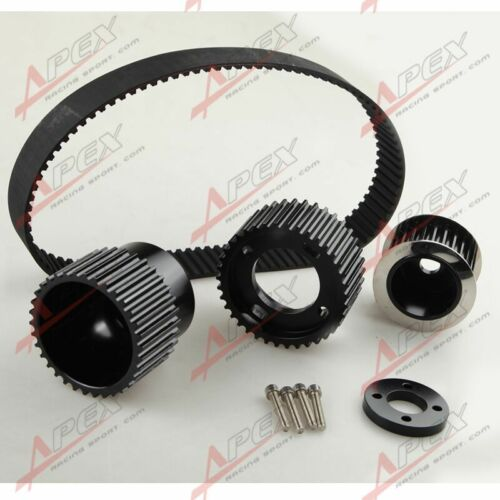 """12A 13B 20B 15mm RX7 FD FC RX3 Gilmer Drive Pulley Kit 1.5/"""" Notch Belt Black"""