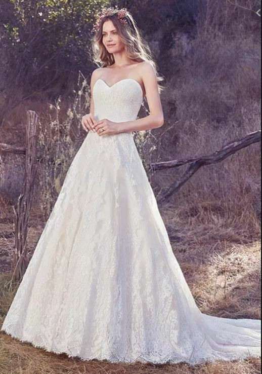 A-Line Wedding Dress Maggie Sottero Sweetheart Lace Ivory/Lt Champagne Size 6