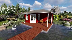 Holz Erfurt 5 eck gartenhaus modern mit terrasse 5 8x3m blockhaus holz 40mm