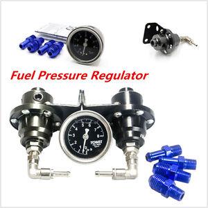 Black-Type-S-Adjustable-Fuel-pressure-Regulator-Guage-FPR-Universal-JDM-Turbo