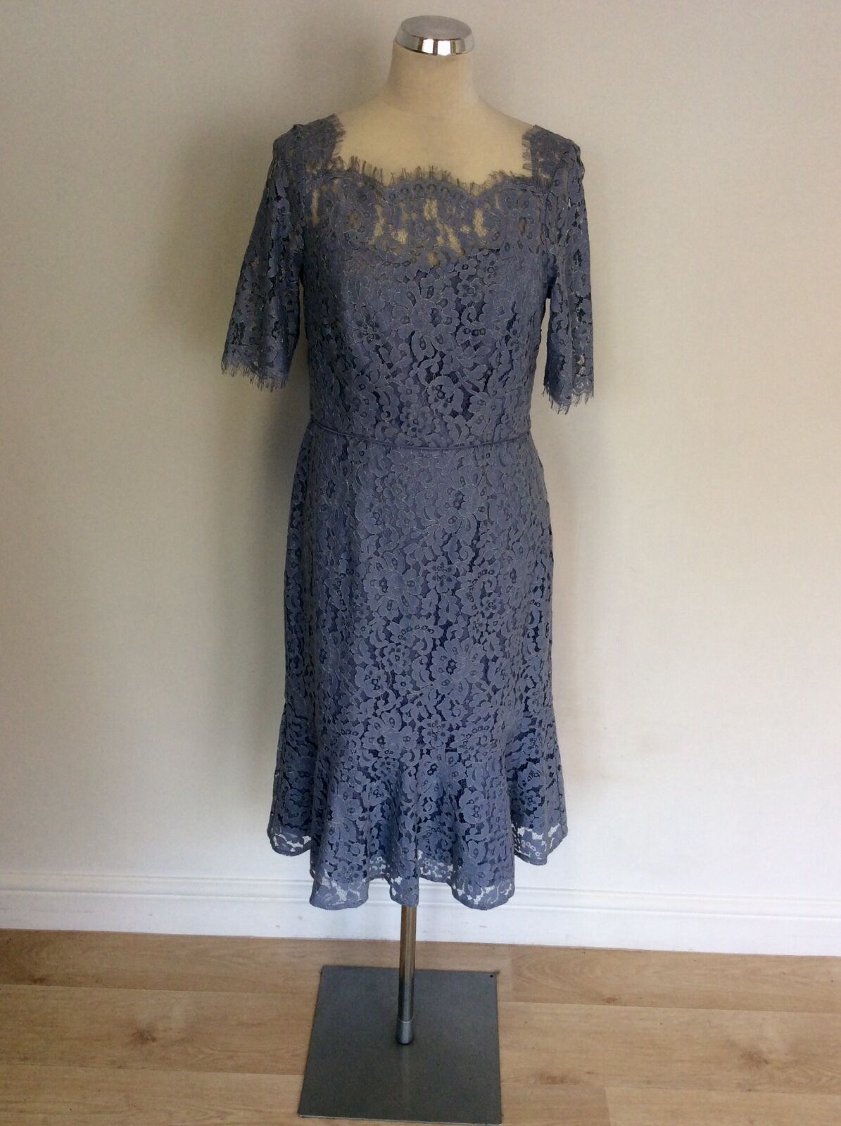 MONSOON blueE blueE blueE LACE SHORT SLEEVE SPECIAL OCCASION  DRESS SIZE 12 6993d4