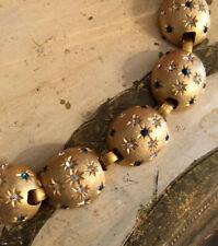 Vintage Pave Rhinestones Sapphire Paste Stars Gold Tone Bracelet