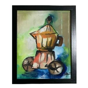 PAINTING-ACRYLIC-ON-CANVAS-PANEL-FRAME-INCLUDED-CUBAN-ART-8-X10-By-LISA