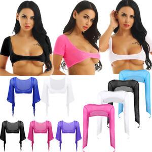 Womens-Sheer-Mesh-Open-Bust-Crop-Top-Belly-Dance-Shrug-Covers-Blouse-Top-T-shirt