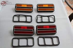 Chevy-GMC-Pickup-Truck-Front-Rear-Side-Marker-Lamp-Set-Amber-Red-Chrome-Trim-New