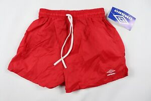 Vintage-90s-New-Umbro-Youth-Large-Spell-Out-Nylon-Soccer-Shorts-Solid-Red
