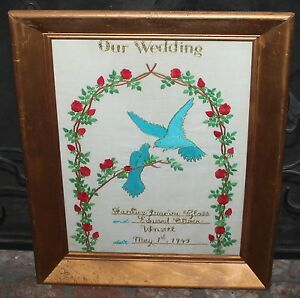 VERY OLD NEEDLEPOINT OUR WEDDING MAY 1ST 1949 FRAMED