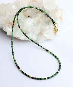 Ruby-Zoisite Chain Jewel Chain Faceted Necklace Anyolith Green Red 46 CM