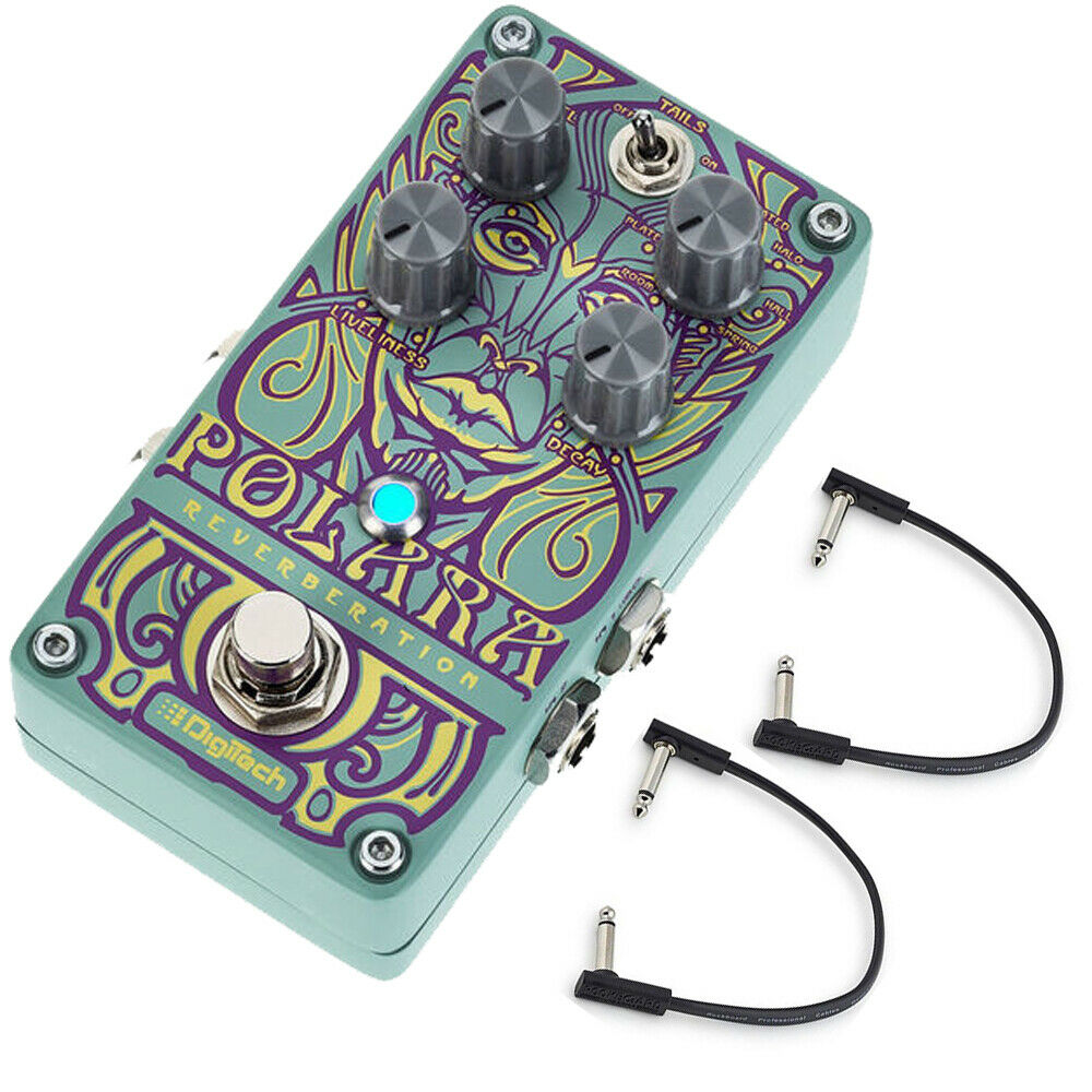Digitech Polara Stereo Reverb Guitar Effect Pedal w  (2) Flat Patch Cables