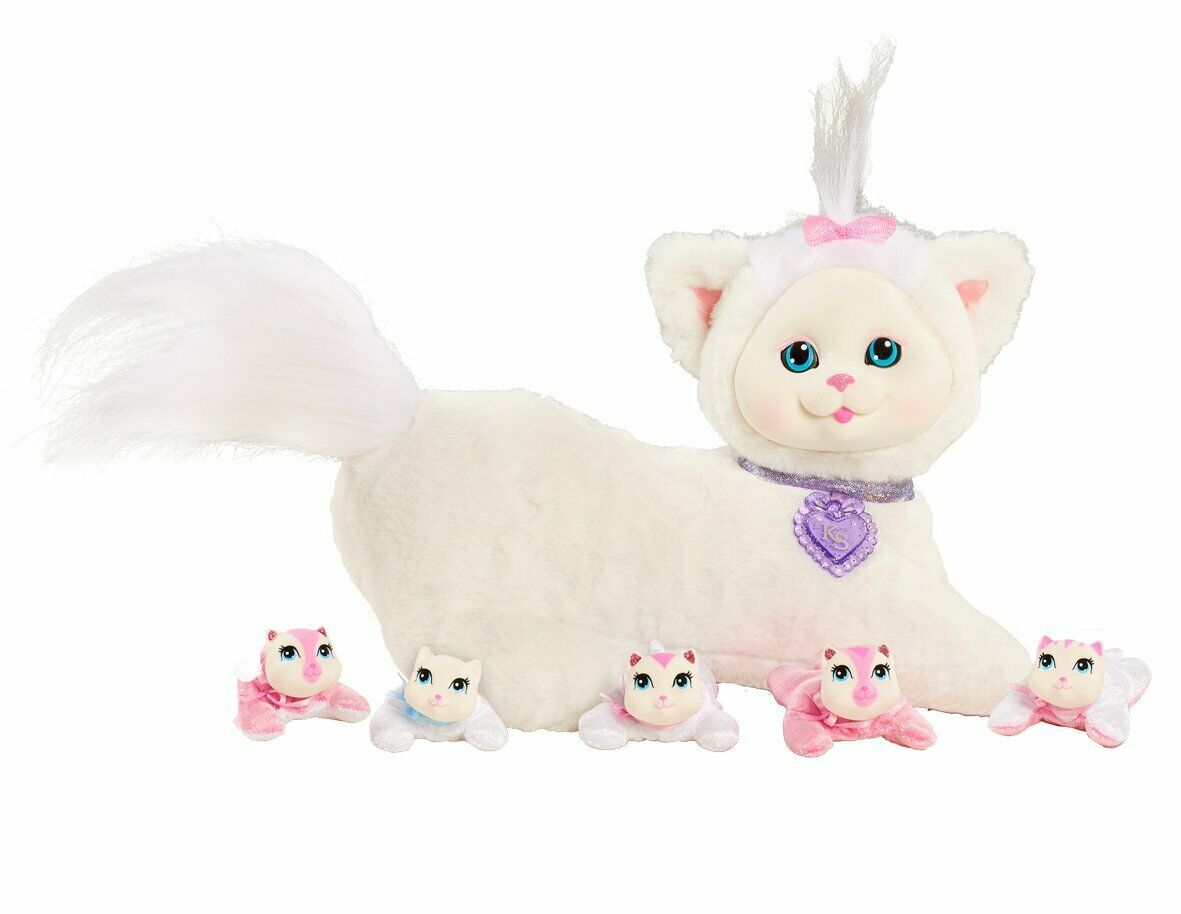Kätzchen Überraschung Elfenbein Plüsch (Weiß) - Weich Kuschelig Mama Katze +