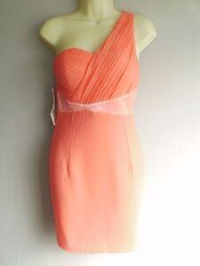 One-Shoulder-Little-Mistress-Pleated-Bodice-Celeb-Style-Peach-Dress-Size-12-NEW