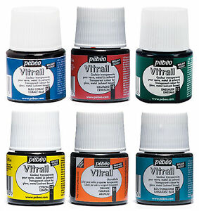 Pebeo-Vitrail-Stained-Glass-Effect-Paint-45ml-Bottle-All-TRANSPARENT-Colours