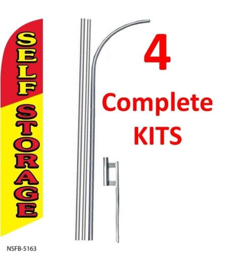 4 four SELF STORAGE 15/' SWOOPER #3 FEATHER FLAGS KIT with poles+spikes