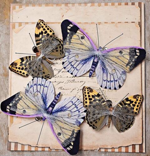 Draht Naturtöne Papier Tüll Vintage Creme #245 ❀ 4 x Schmetterlinge mit Clip