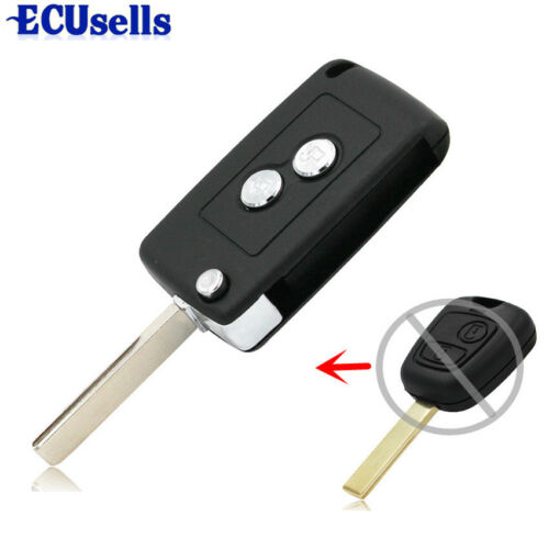 Folding Remote Key Case Shell Blank Fob 2 Button for PEUGEOT 307 107 207