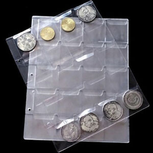 1-Sheet-20-Pockets-Plastic-Coin-Holders-Storage-Collection-Money-Album-CasesFB