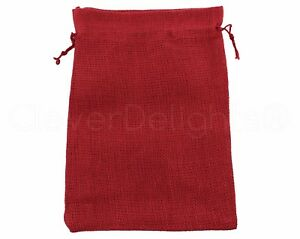 0337b48303ab Details about 5 Red Burlap Bags with Jute Drawstring - 10