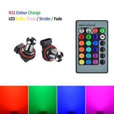 H11 LED Colour Change Foglight Bulbs Flash Strobe Fade Remote * NON CANBUS *
