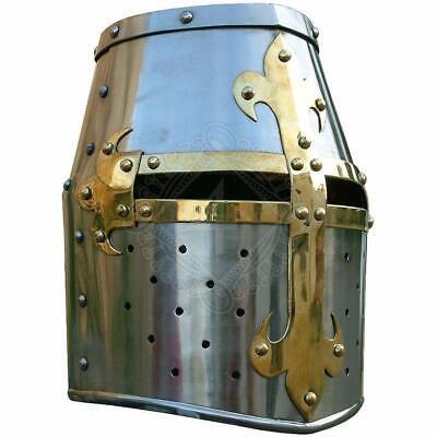 Medieval Crusader Helmet Templar Knight Helmet Silver Finish Brass Design Liner