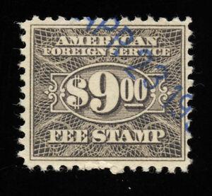 01791 U.S. Revenue Scott RK38 $9 Foreign Consular Service, perf. 11, SCV = $35