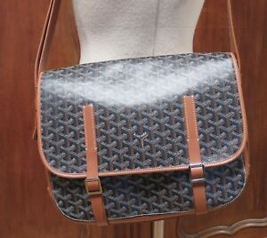 9adcae82de24 Auth GOYARD Goyardine Belvedere MM Messenger Bag Black   Tan Leather ...