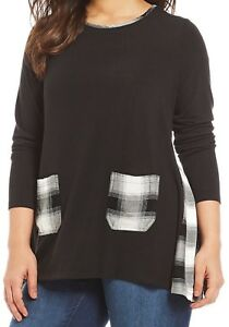 0d908e18783 NWT Westbound Woman Black/Ivory PLAID POCKETS Jersey Knit Swing Top ...