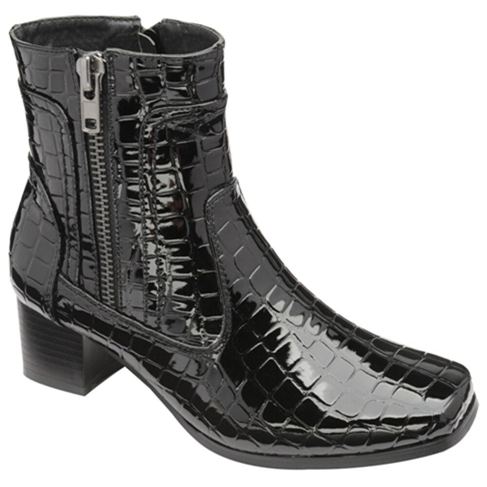 Manfield Faux Croc Ankle Boots Black