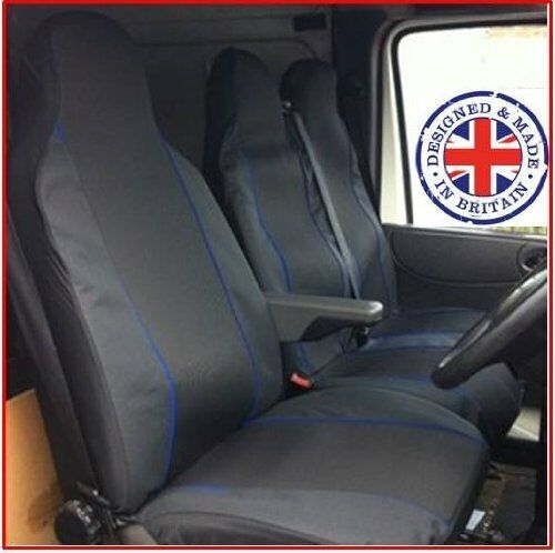 DOUBLE DELUXE BLUE PIPING VAN SEAT COVERS SINGLE NEW VAUXHALL VIVARO 2015 ON