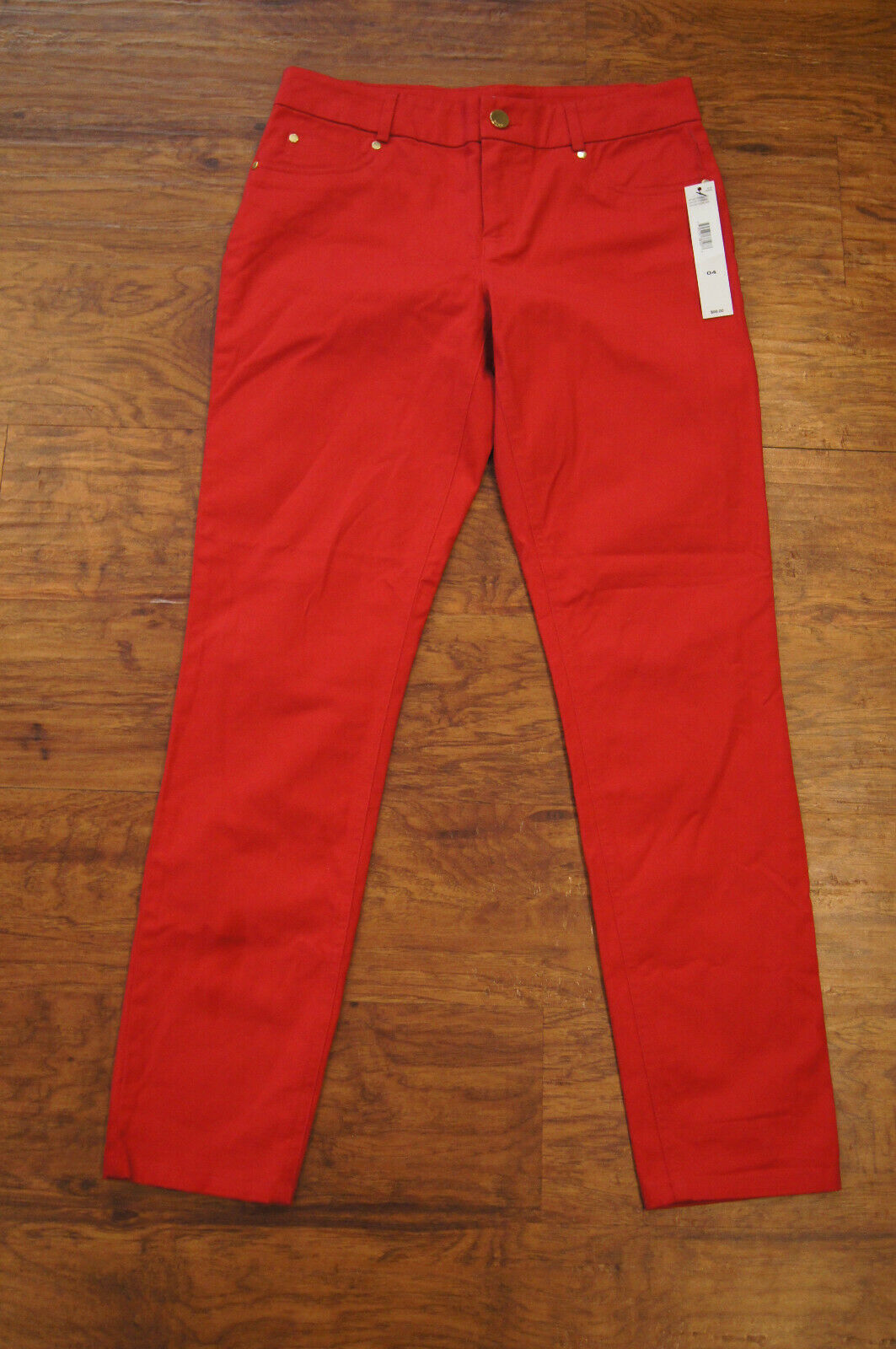 DKNY Womens Casual straight leg pants size 4 Crimson Red NWT