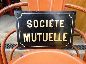 Objet Métier Vintage Plaque Signalétique Tôle Assurance Société Mutuelle 1950