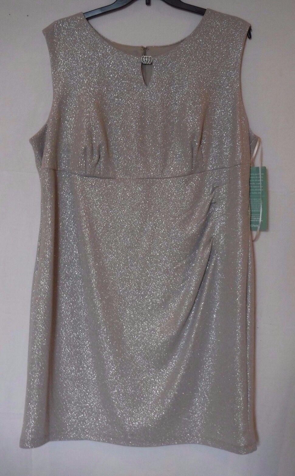 cbe0779aa229a Scarlett Sleeveless Side-ruched Metallic Dress Plus 24w Taupe ...