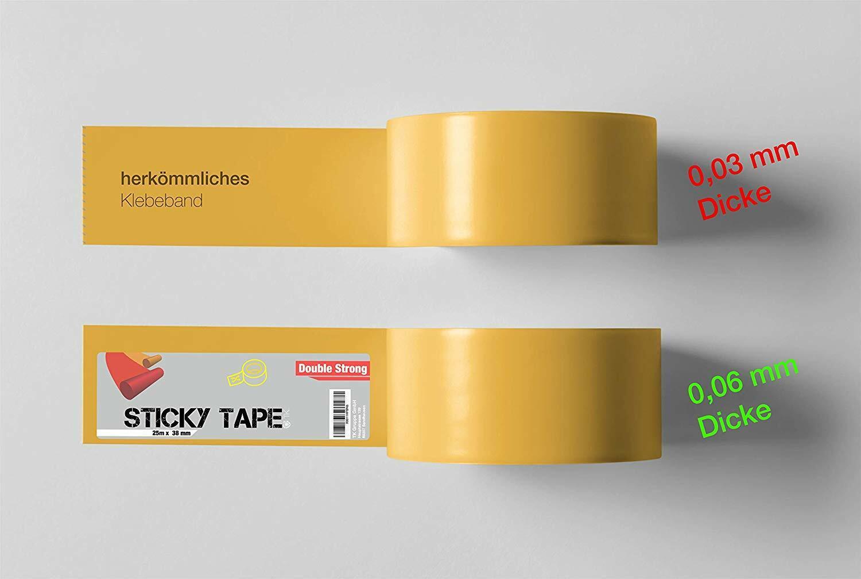 Bel/äge PVC Fu/ßbodenheizung uvm. Doppelseitiges Klebeband 25m x 38 mm Spiegelklebeband Doppelklebeband Verlegeband f/ür Teppiche