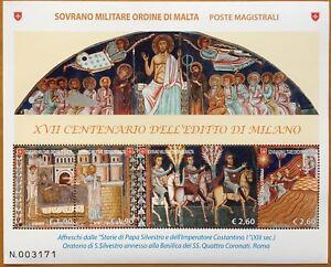 SMOM-2013-BLOCCO-FOGLIETTO-XVII-CENTENARIO-EDITTO-DI-MILANO-AFFRESCHI-ROMA
