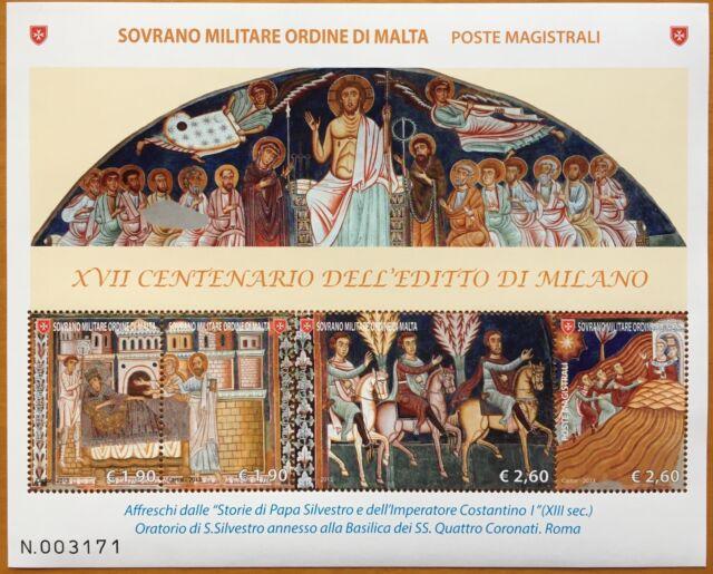 SMOM 2013 BLOCCO FOGLIETTO XVII CENTENARIO EDITTO DI MILANO AFFRESCHI ROMA