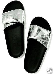 8fbf560d729 Victoria s Secret Pink SILVER Slides Slippers Shoes SIZE M MEDIUM 7 ...