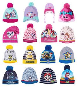Boys Girls Kids Official Character PJ Masks Frozen Super Mario Winter Hat