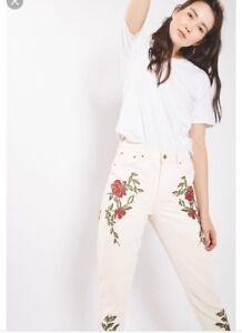 Mom a 8 10 W28 Topshop Bnwt vita Rose L30 Jeans alta Taglia OpEqxg