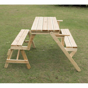 Outsunny Patio 2 in 1 Outdoor Interchangeable Picnic Table / Garden Bench Wood