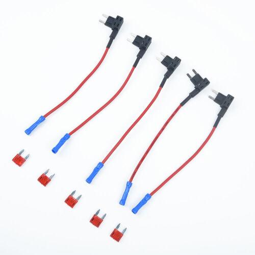 5XAdd-a-Circuit Fuse Tap Auto Mini Blade Piggy Back Fuse Holder 12V