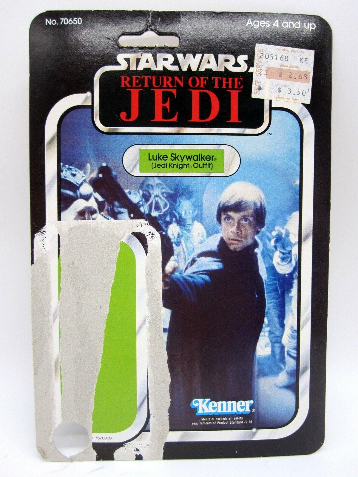 Vintage 1983 Kenner Estrella Wars rojoj Luke Skywalker Jedi Knight Outfit 65 tarjeta