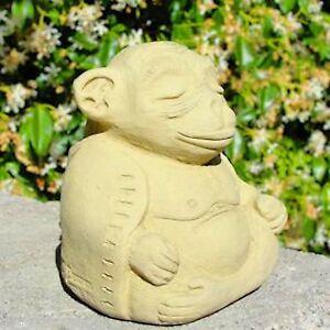 Small Meditating Monkey Stone Concrete Sculpture Garden