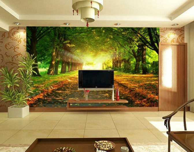 Huge 3D Trees Road Sunshine Wall Paper Wall Print Decal Wall Deco Indoor wall