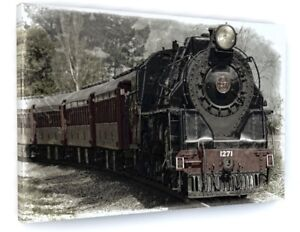 Old Steam Train Engine Mountains Large Canvas Wall Art Print