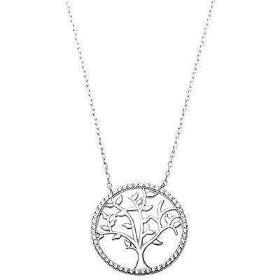 Plain Yellow Gold Plated Tree Of Life .925 Sterling Silver Pendant
