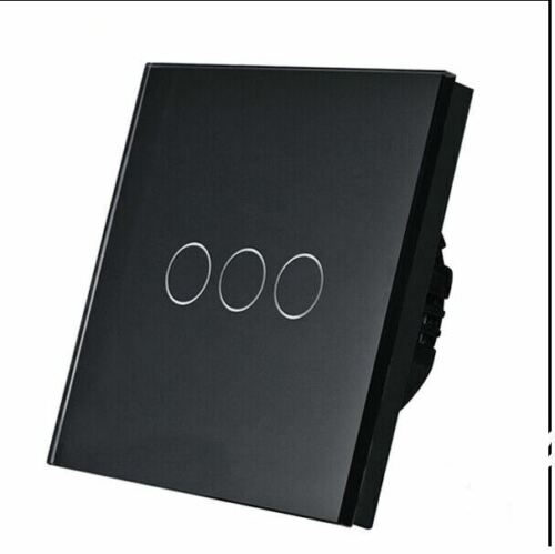 I LumoS Luxury Black Glass Panel Touch  LED 3 Gang//1 Way on//off
