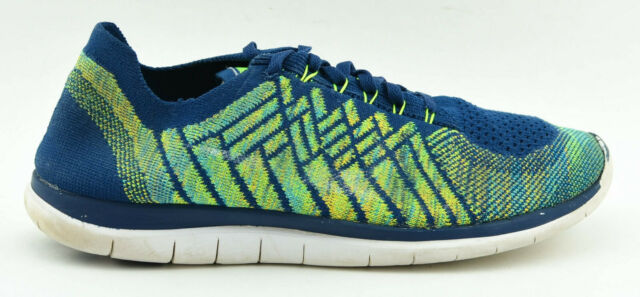 save off d90c5 f5484 MENS NIKE FREE 4.0 FLYKNIT RUNNING SHOES SIZE 9 BRAVE BLUE VOLT NAVY 717075  402