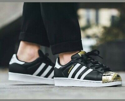 Adidas Metal Toe Superstars in Black White Gold