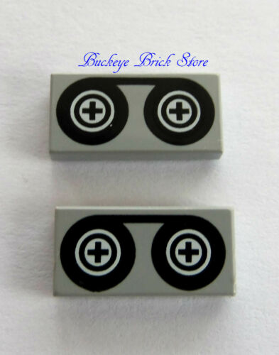 NEW Lego TILE REEL TO REEL 1X2 Movie TV Film Picture Camara Tape Gray Lot//2